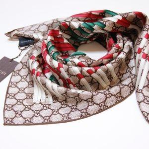 Gucci Women's Edrial Beige Brown WEB Silk Scarf